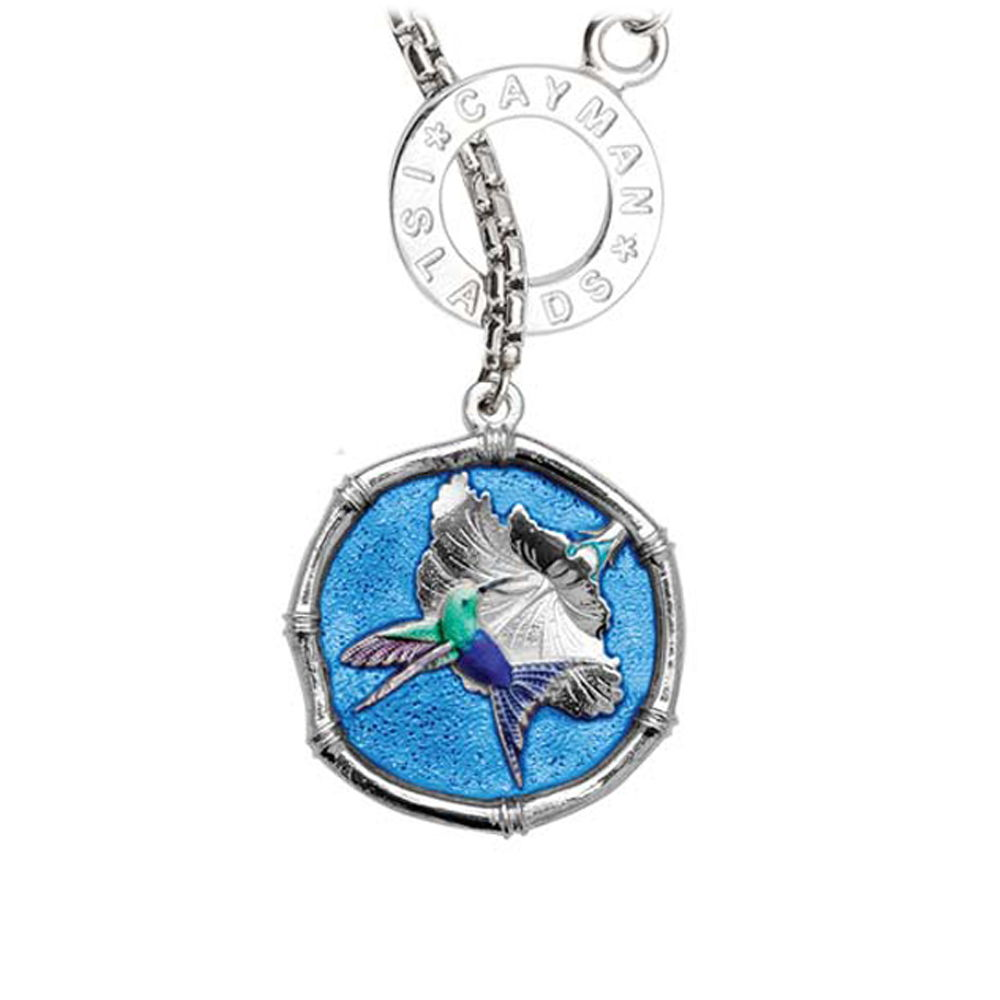 Guy Harvey Hummingbird Sterling Silver Lariat Necklace - Full Color Blue Enamel