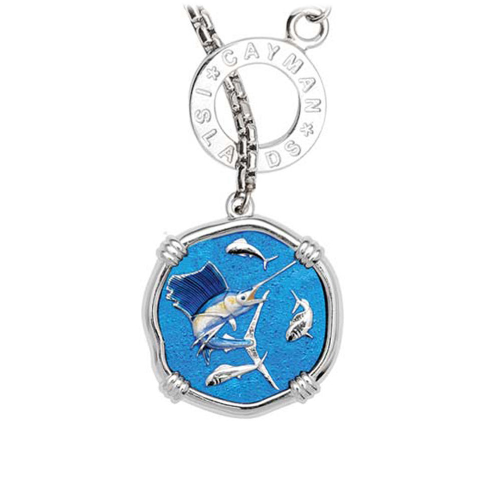 Guy Harvey Sailfish on Lariat Style Box Necklace Full Color Enamel 25mm Sterling Silver