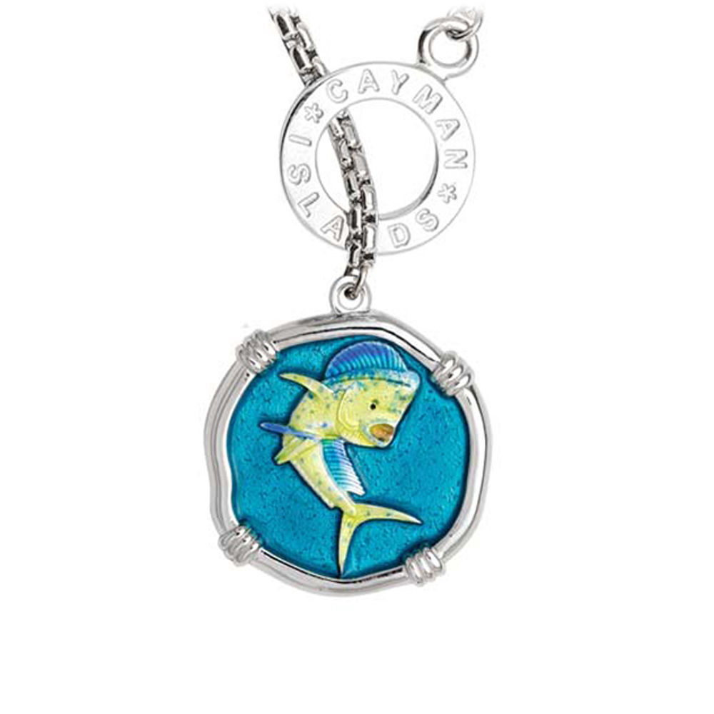 Guy Harvey Dolphin on Lariat Style Box Necklace Full Color Enamel Bright Finish 25mm Sterling Silver