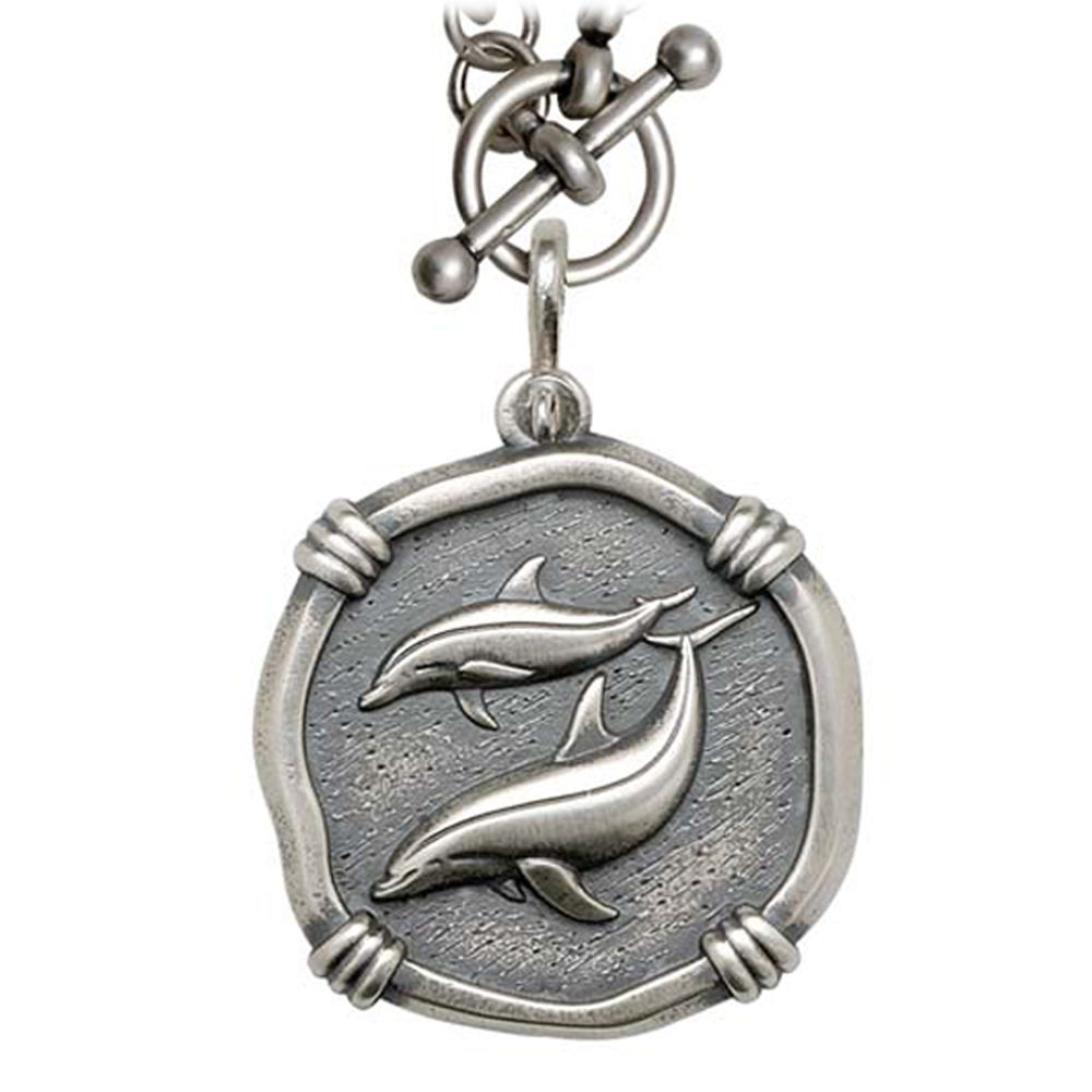 Guy Harvey Porpoises on Heavy Link Necklace Relic Finish 35mm Sterling Silver