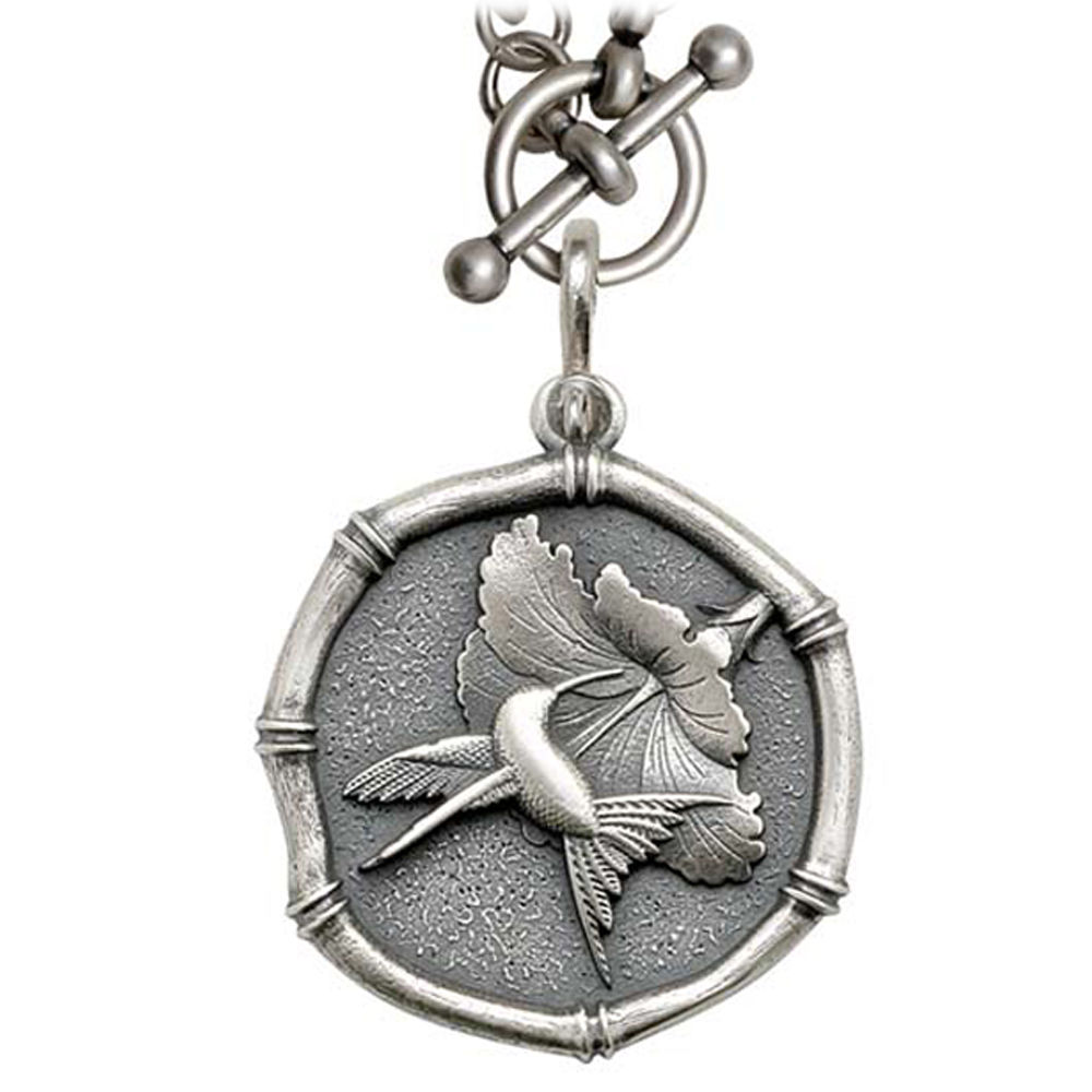 Guy Harvey Hummingbird Sterling Silver on Heavy Link Necklace Relic Finish 35mm Sterling Silver