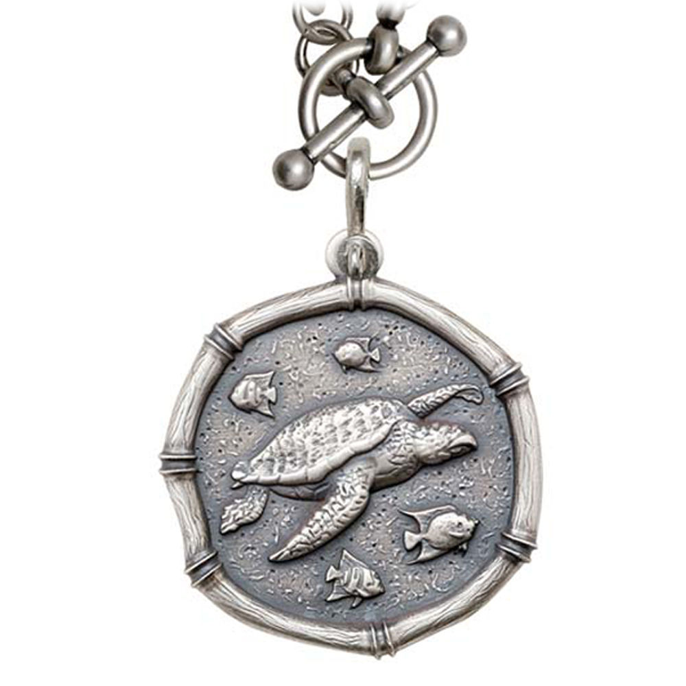 Sea Turtle on Heavy Link Necklace Relic Finish 35mm Sterling Silver