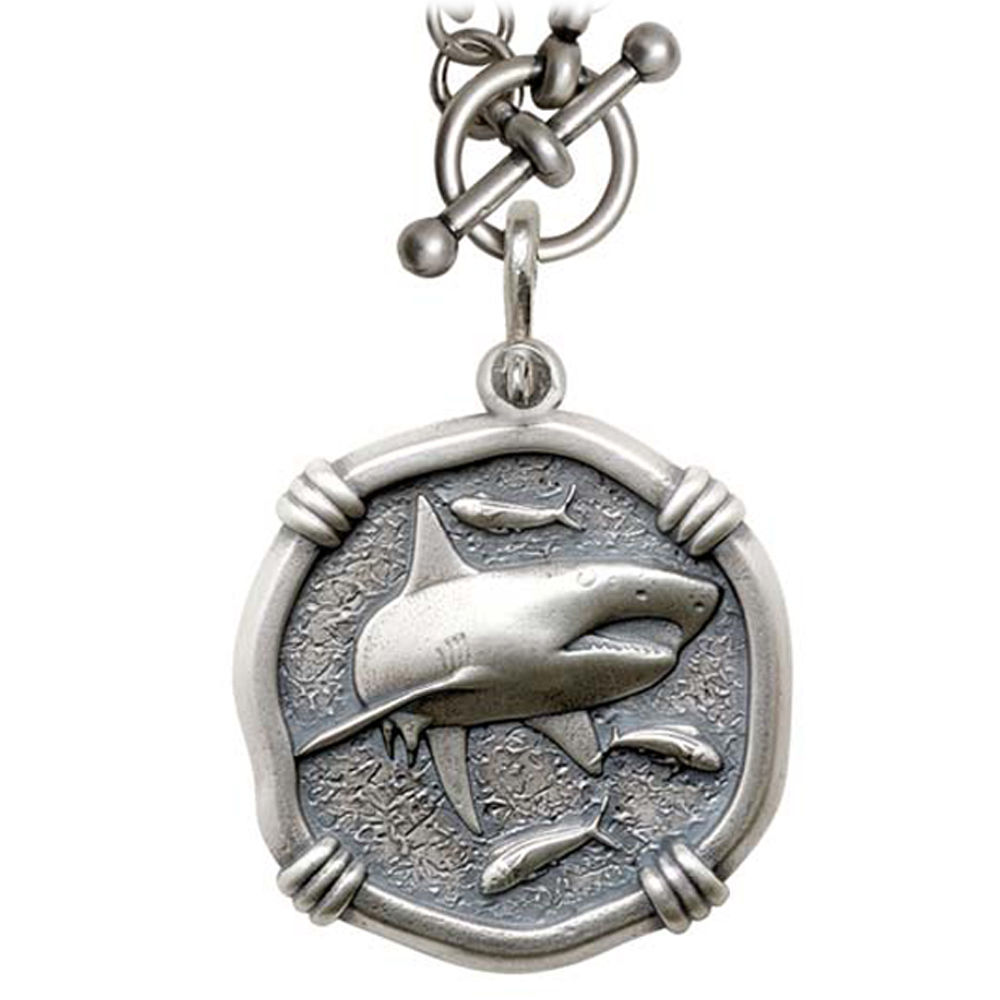 Guy Harvey Shark on Heavy Link Necklace Relic Finish 35mm Sterling Silver