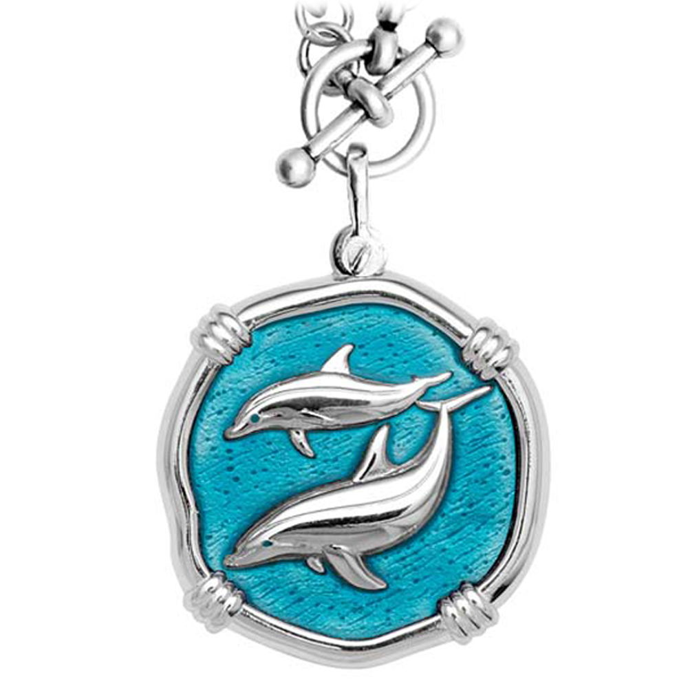 Guy Harvey Porpoises on Heavy Link Necklace Cayman Green Enamel Bright Finish 35mm Sterling Silver