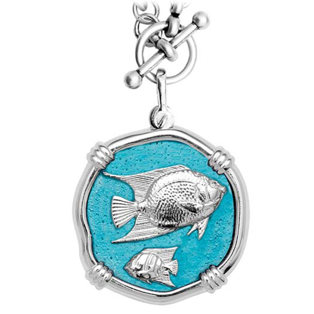 Guy Harvey Angelfish on Heavy Link Necklace Cayman Green Enamel Bright Finish 35mm Sterling Silver