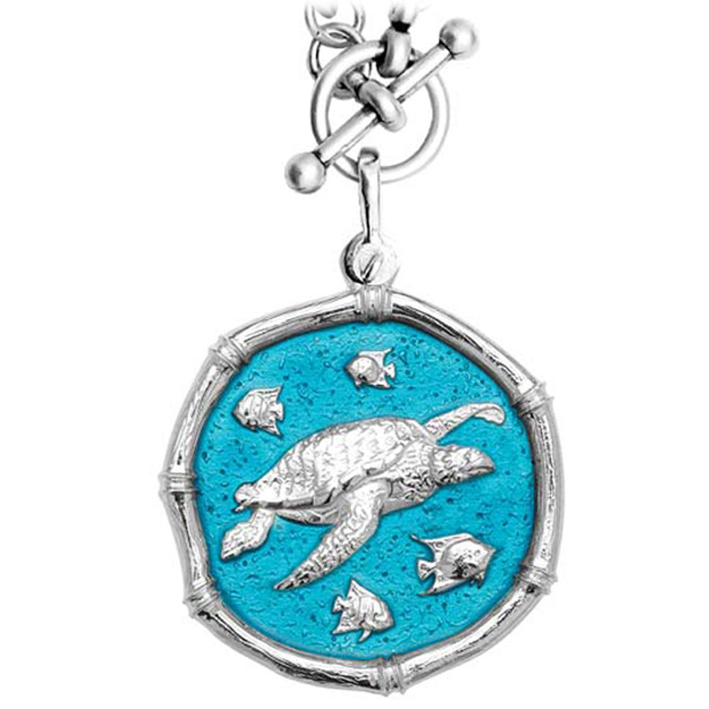 Guy Harvey Sea Turtle on Heavy Link Necklace Cayman Green Enamel Bright Finish 35mm Sterling Silver