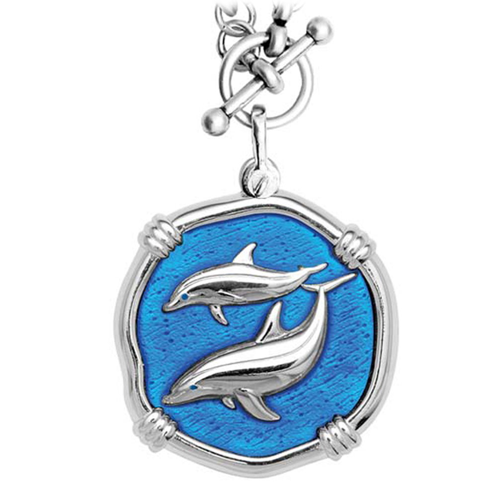 Guy Harvey Porpoises on Heavy Link Necklace Caribbean Blue Enamel Bright Finish 35mm Sterling Silver