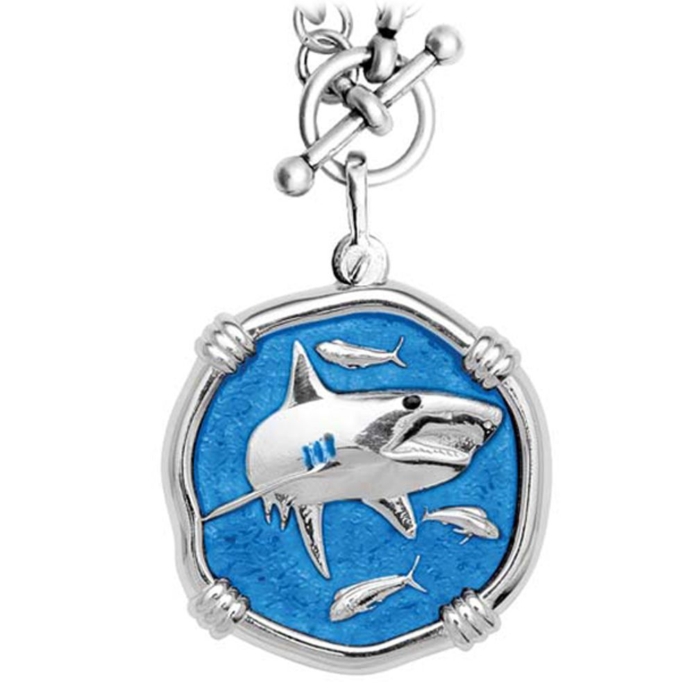 Guy Harvey Shark on Heavy Link Necklace Caribbean Blue Enamel Bright Finish 35mm Sterling Silver