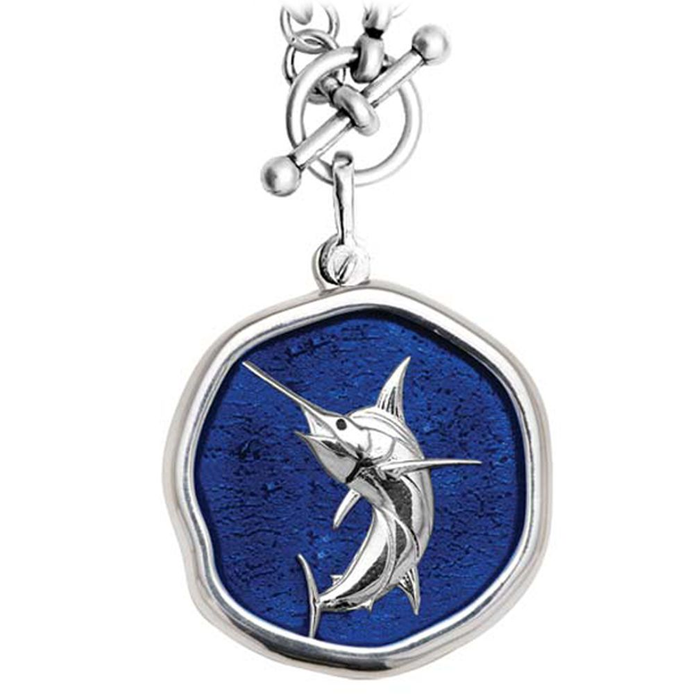 Guy Harvey Marlin on Heavy Link Necklace Gulf Stream Blue Enamel Bright Finish 35mm Sterling Silver
