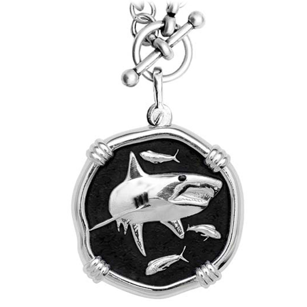 Guy Harvey Shark on Heavy Link Necklace Black Enamel Bright Finish 35mm Sterling Silver