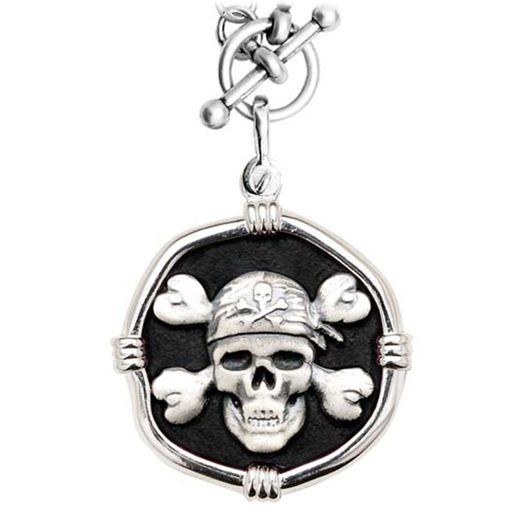 Guy Harvey Pirate on Heavy Link Necklace Black Enamel Bright Finish 35mm Sterling Silver