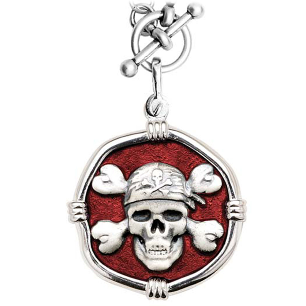 Guy Harvey Pirate on Heavy Link Necklace Red Enamel Bright Finish 35mm Sterling Silver