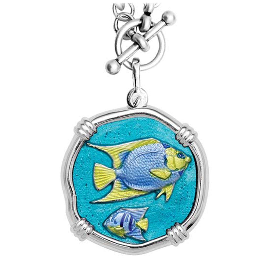 Guy Harvey Angelfish on Heavy Link Necklace Full Color Enamel Bright Finish 35mm Sterling Silver