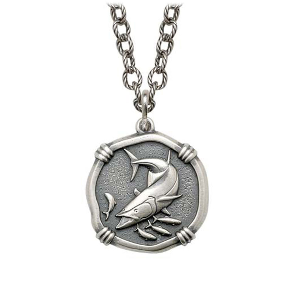 King Mackerel on Circle Necklace Relic Finish 25mm Sterling Silver