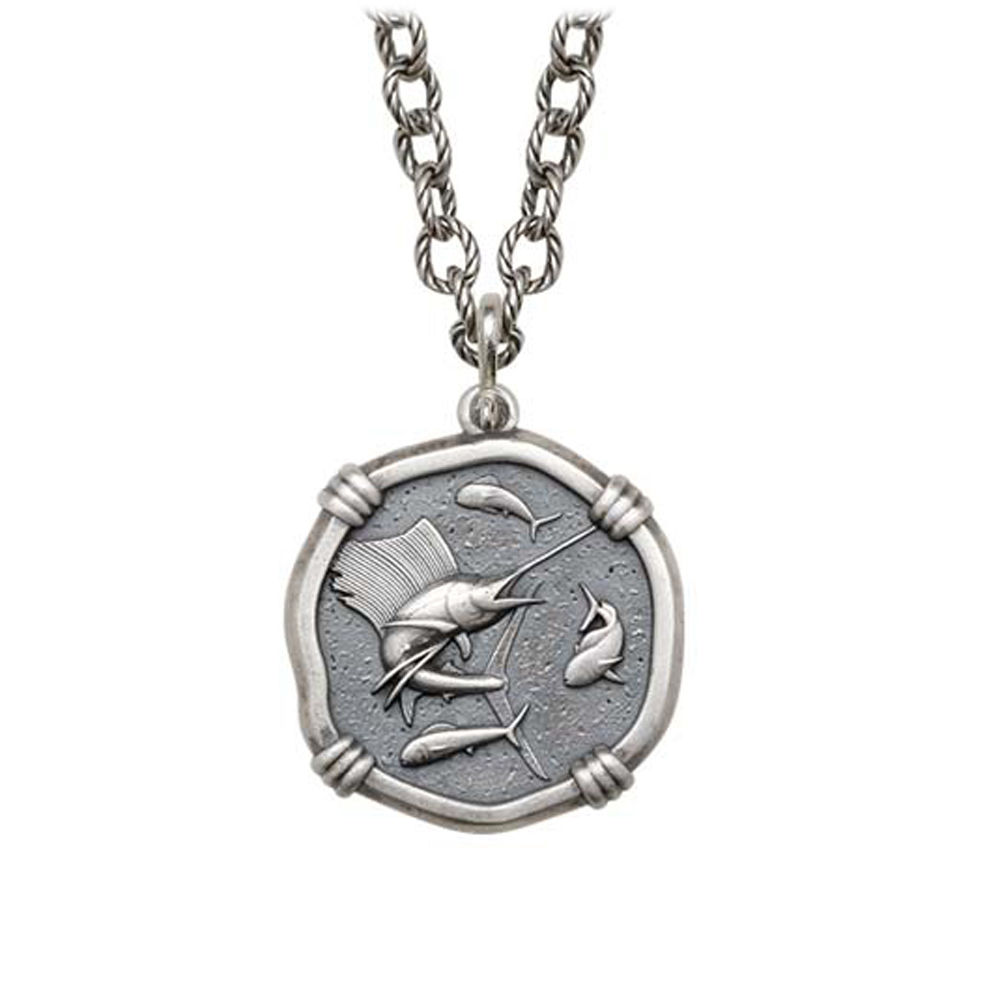 Sailfish on Circle Necklace Relic Finish 25mm Sterling Silver