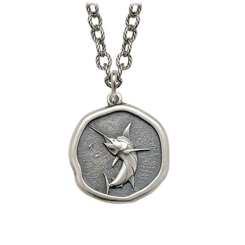 Marlin on Circle Necklace Relic Finish 25mm Sterling Silver