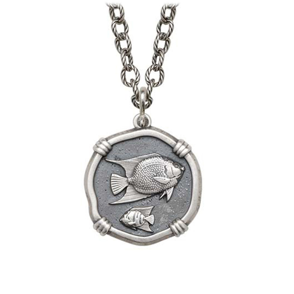 Angelfish on Circle Necklace Relic Finish 25mm Sterling Silver