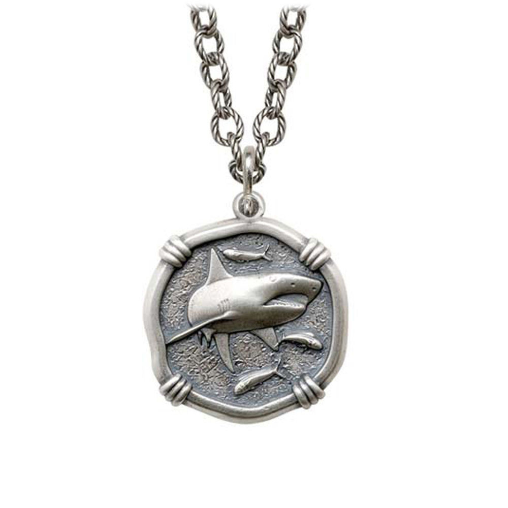 Shark on Circle Necklace Relic Finish 25mm Sterling Silver