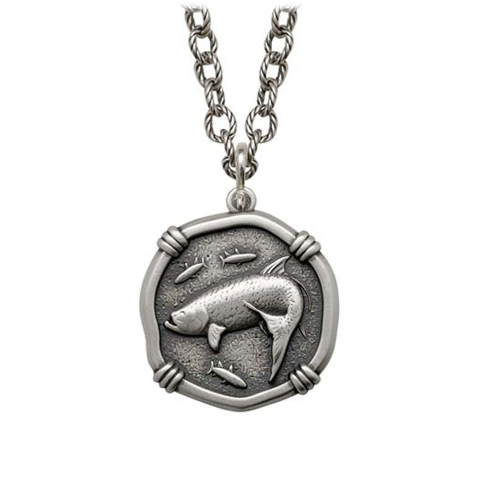 Tarpon on Circle Necklace Relic Finish 25mm Sterling Silver