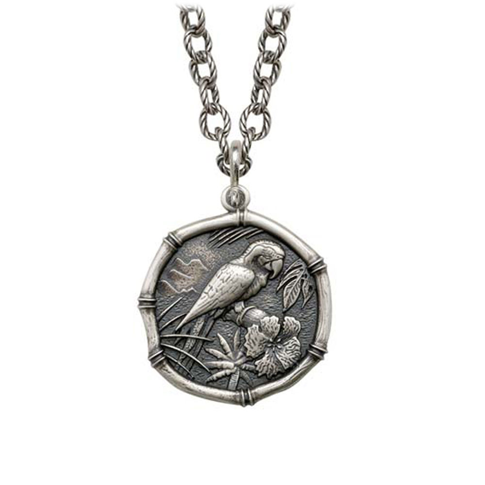 Macaw on Circle Necklace Relic Finish 25mm Sterling Silver