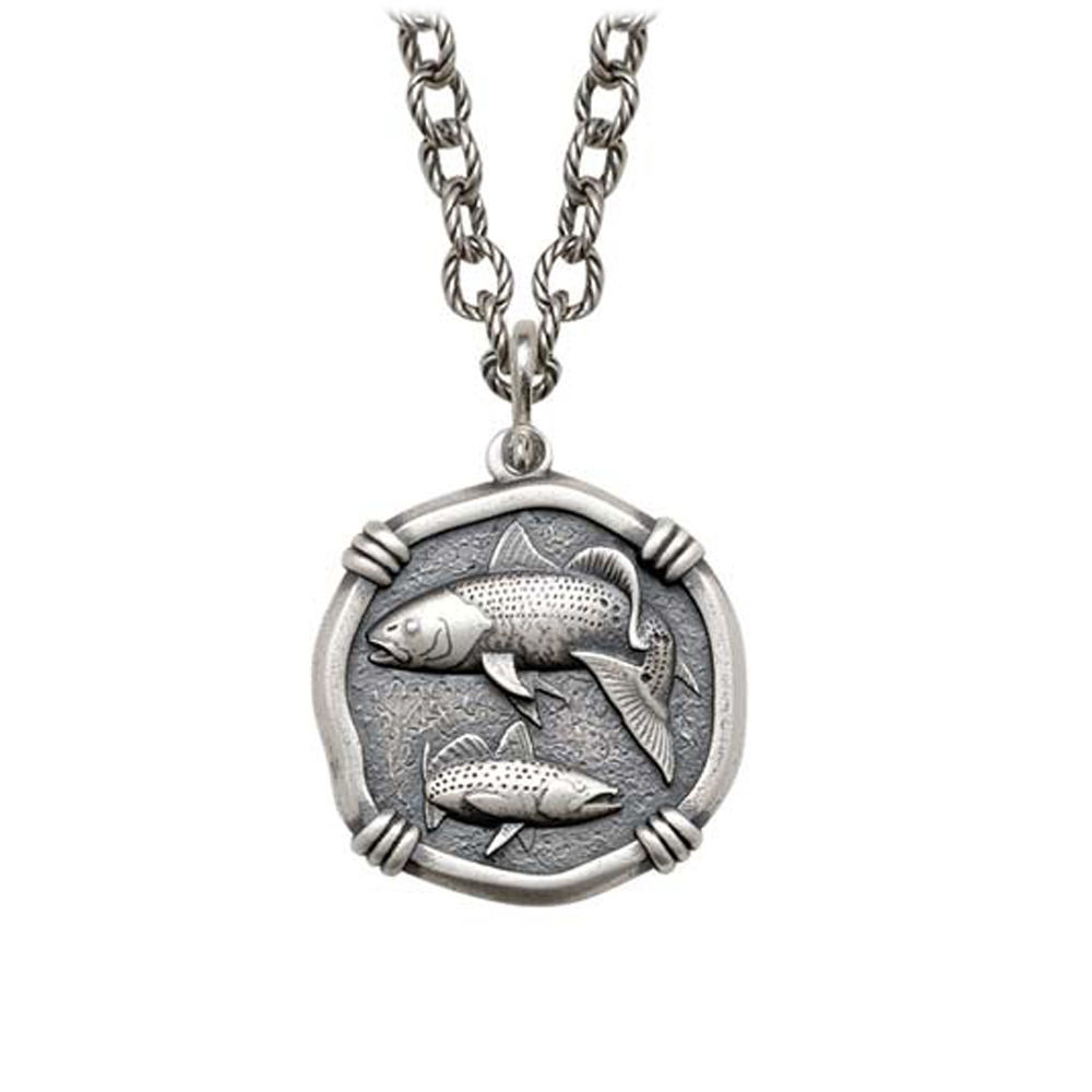 Redfish & Trout on Circle Necklace Relic Finish 25mm Sterling Silver