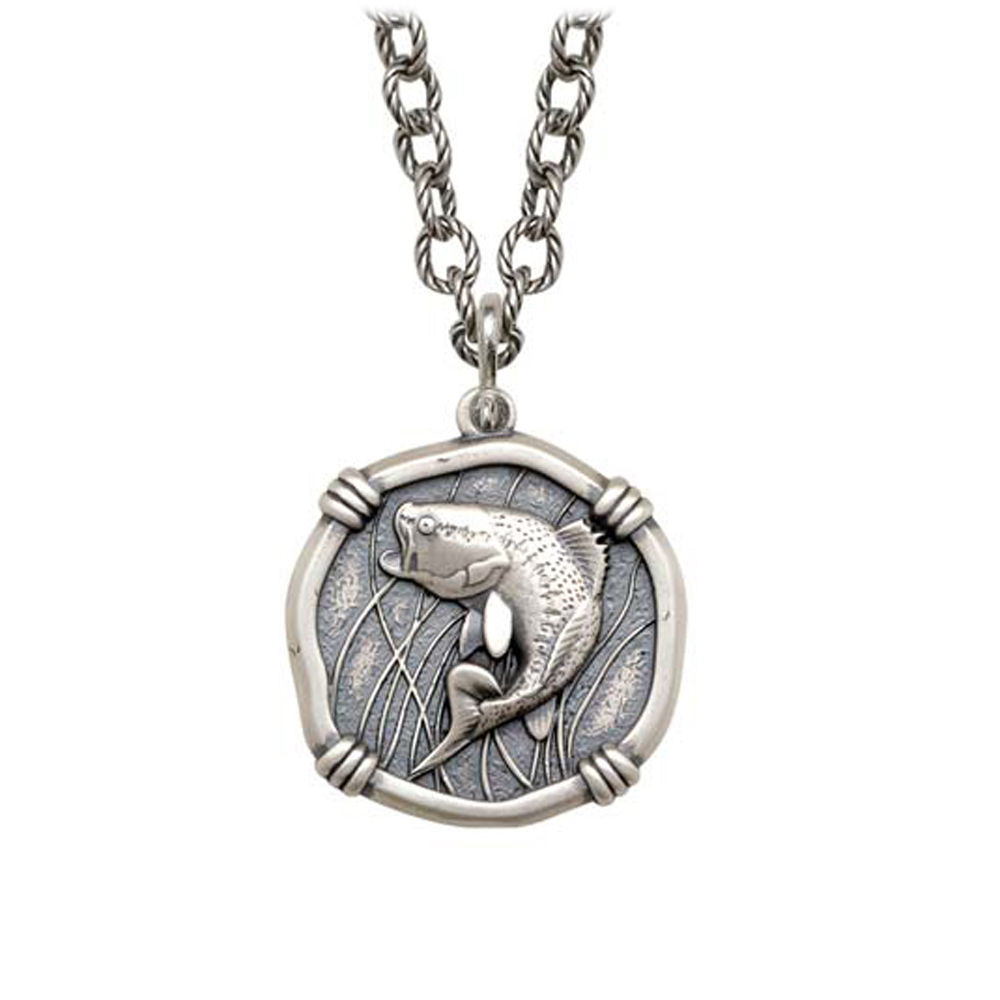 Bass on Circle Necklace Relic Finish 25mm Sterling Silver