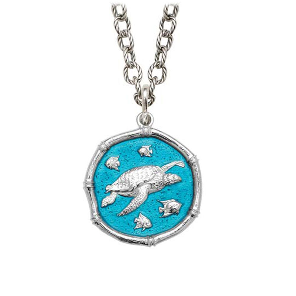 Sea Turtle on Circle Necklace Cayman Green Enamel Bright Finish 25mm Sterling Silver