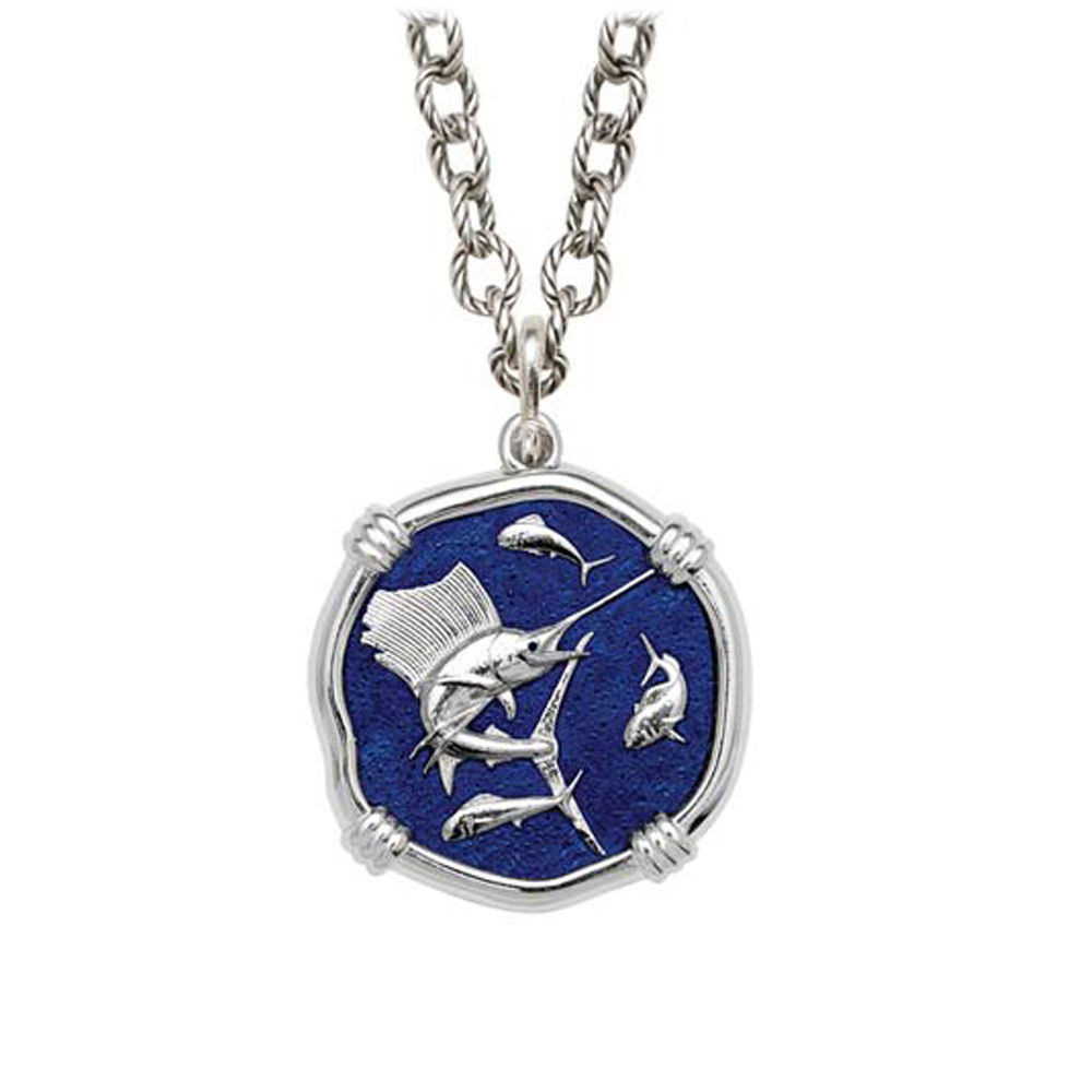 Sailfish on Circle Necklace Gulf Stream Blue Enamel Bright Finish 25mm Sterling Silver