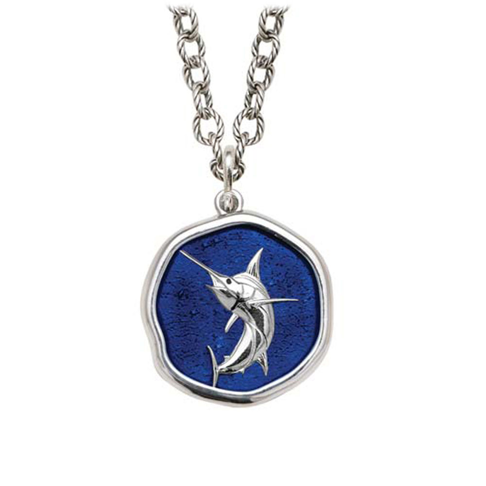 Marlin on Circle Necklace Gulf Stream Blue Enamel Bright Finish 25mm Sterling Silver