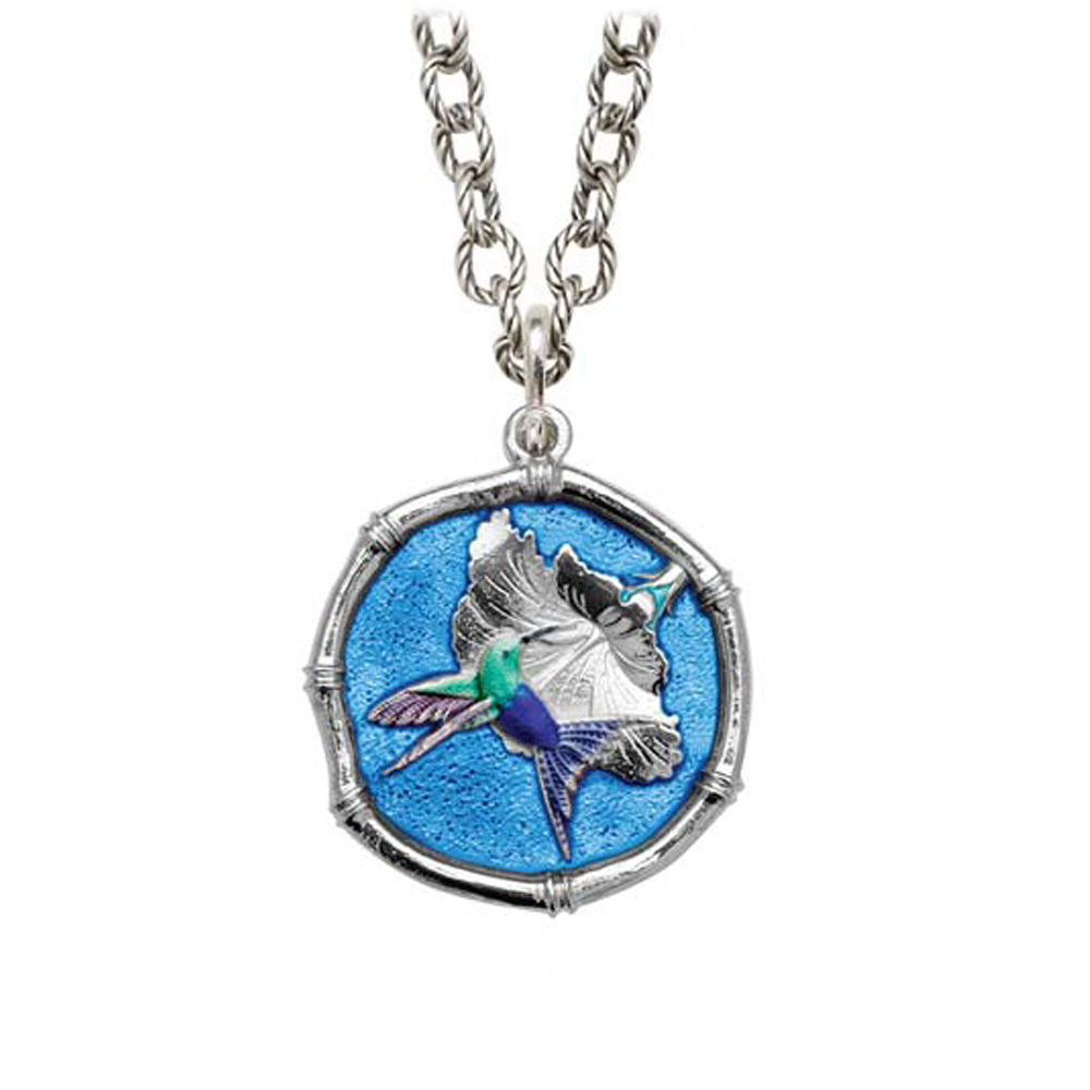 Guy Harvey Hummingbird Sterling Silver on Circle Necklace Full Color Blue Enamel Sterling Silver