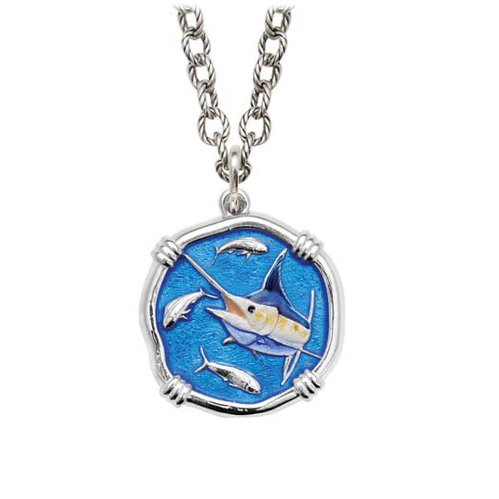 Marlin on Circle Necklace Full Color Enamel Bright Finish 25mm Sterling Silver