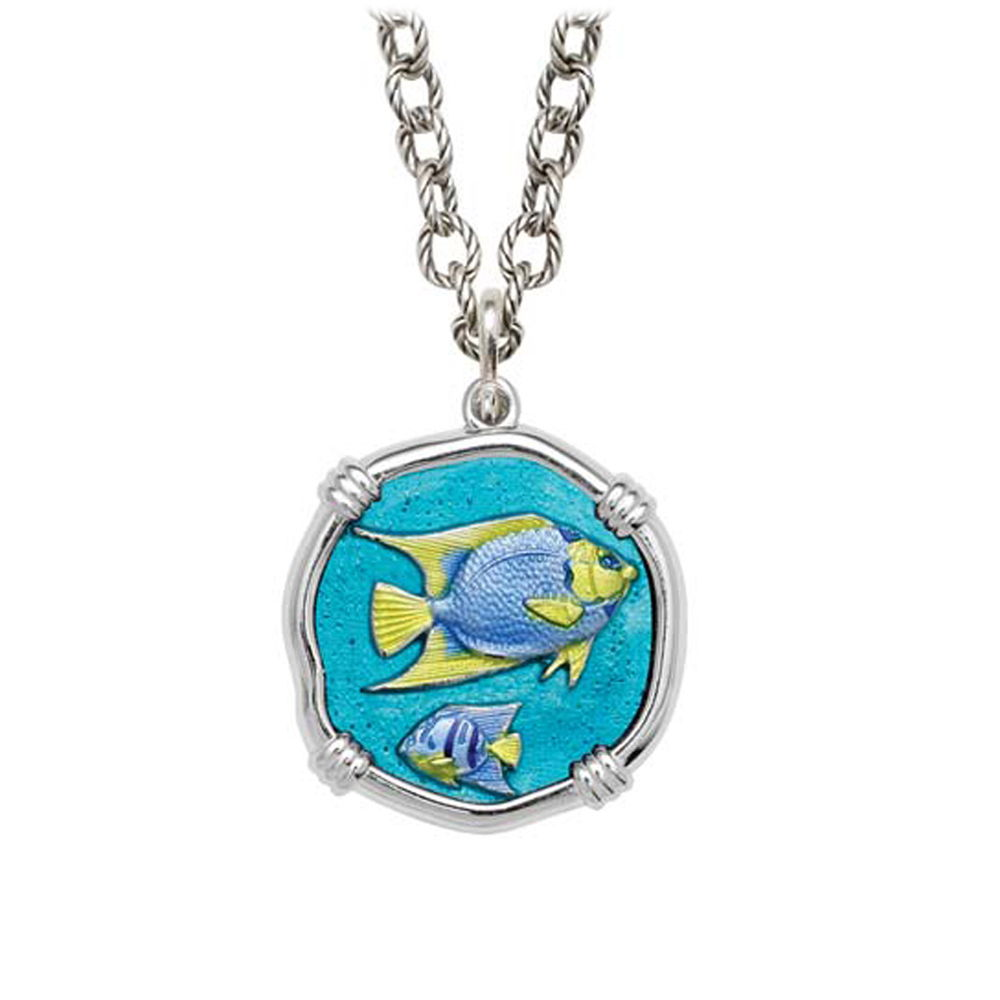 Angelfish on Circle Necklace Full Color Enamel Bright Finish 25mm Sterling Silver