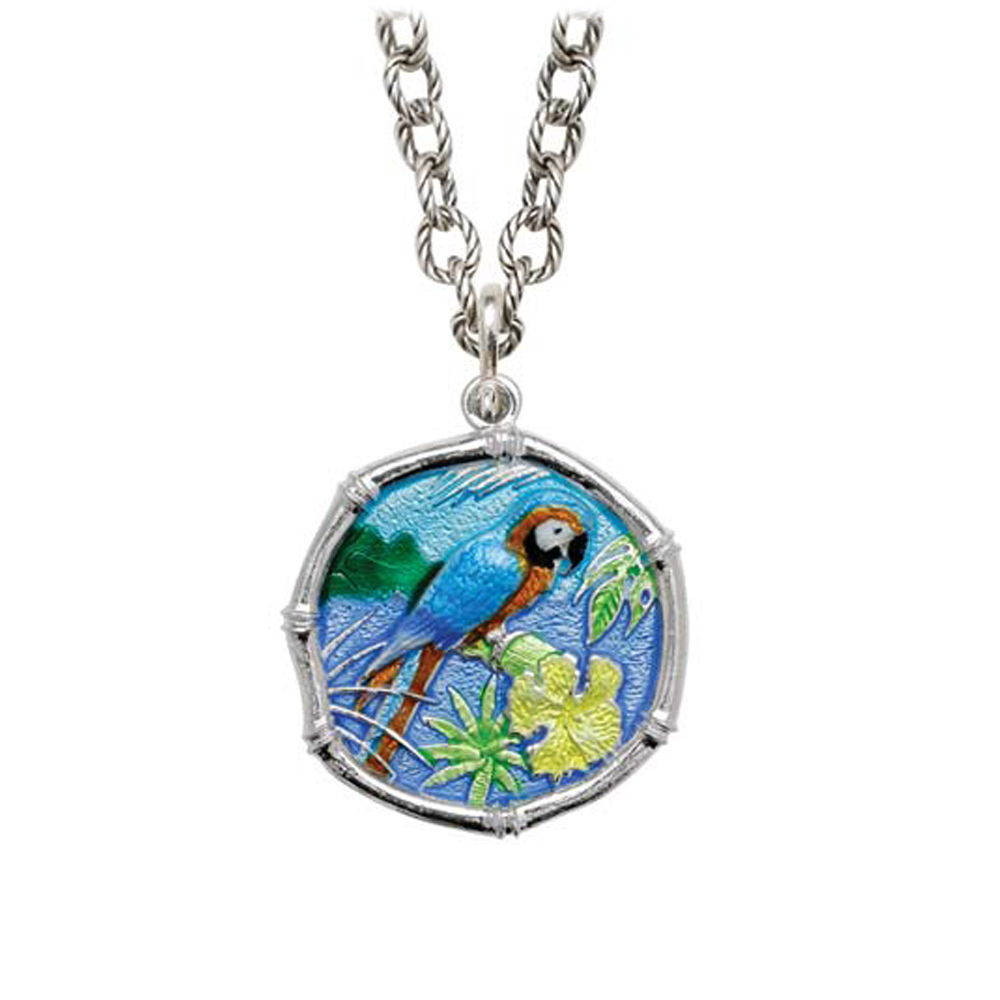 Macaw on Circle Necklace Full Color Enamel Bright Finish 25mm Sterling Silver
