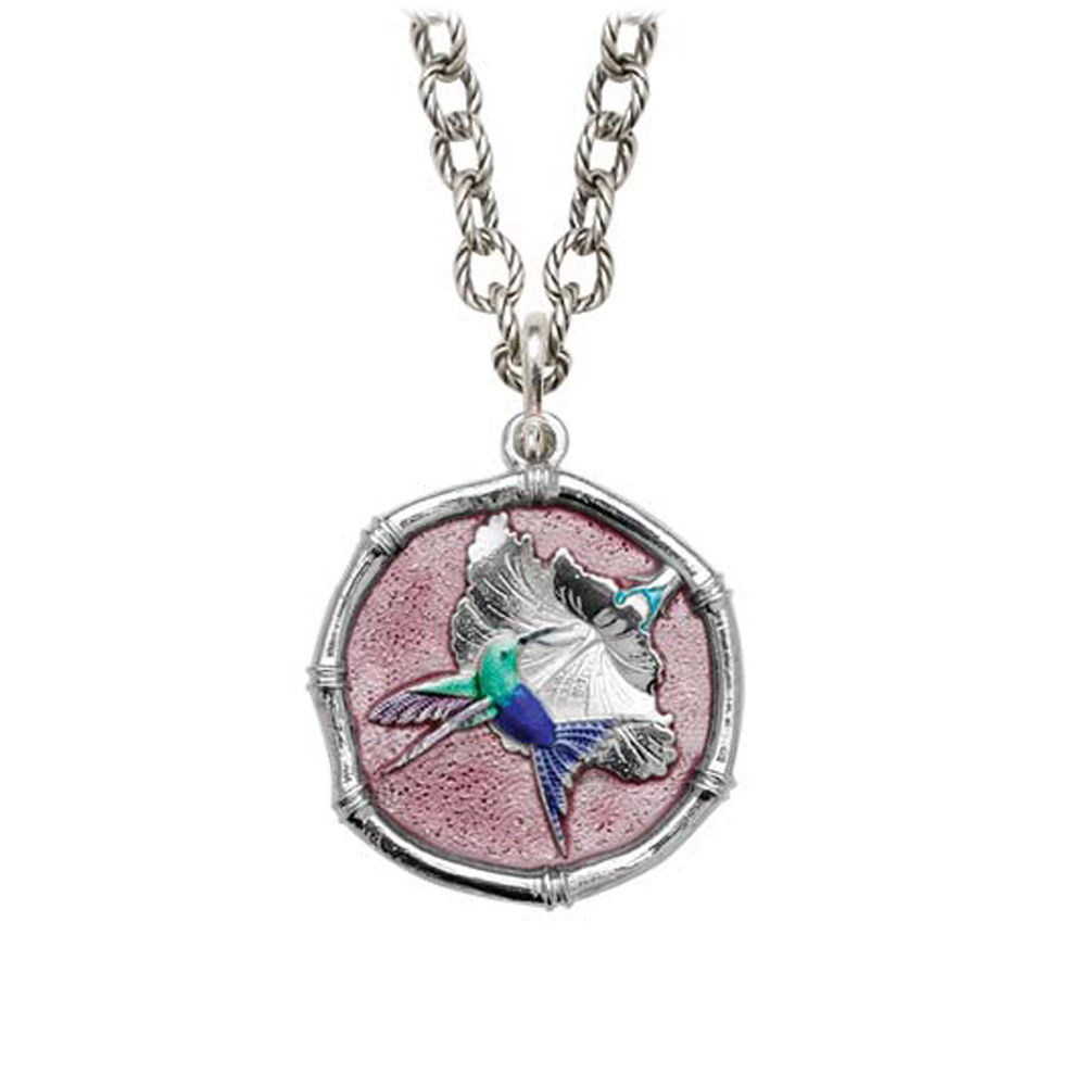 Guy Harvey Hummingbird Sterling Silver on Circle Necklace Full Color Pink