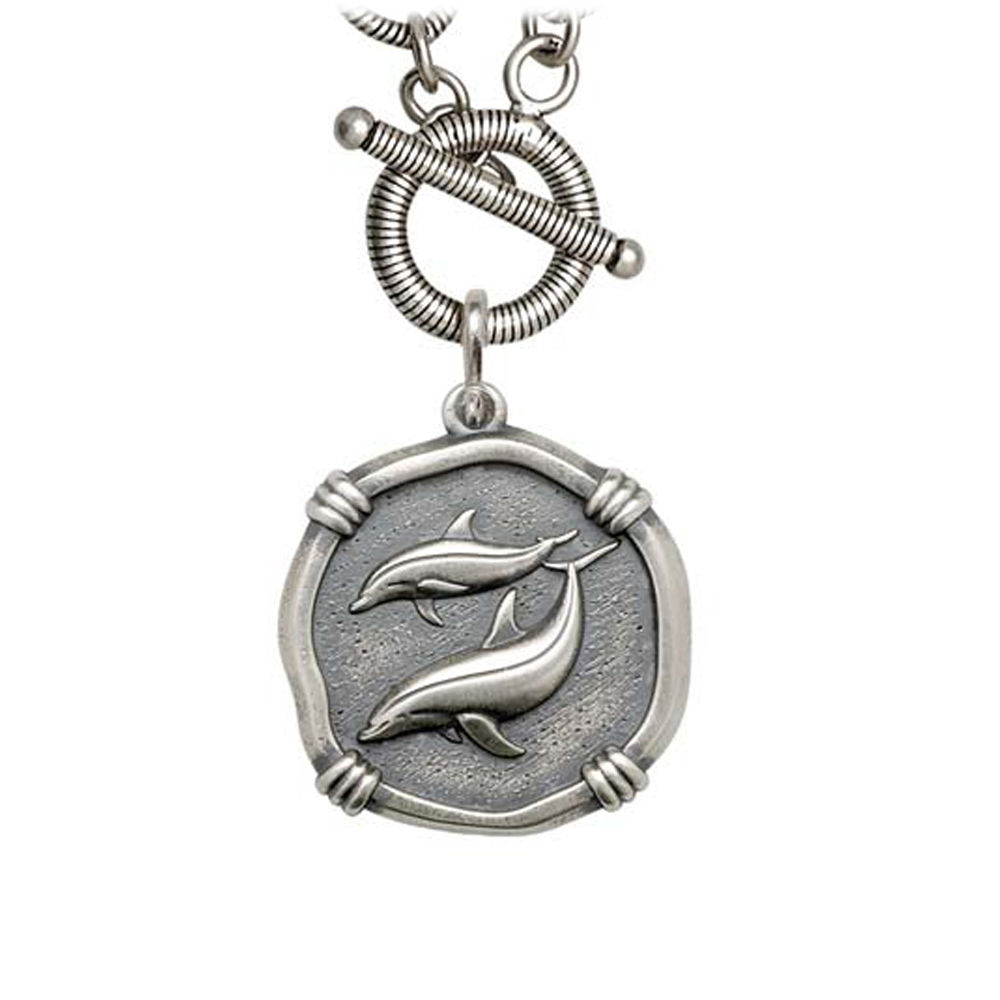 Guy Harvey Porpoise on Link Toggle Necklace Relic Finish 25mm Sterling Silver