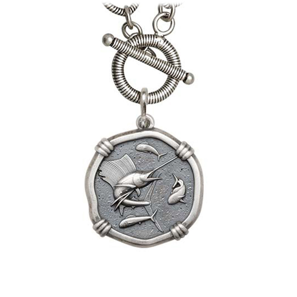 Guy Harvey Sailfish on Link Toggle Necklace Relic Finish 25mm Sterling Silver