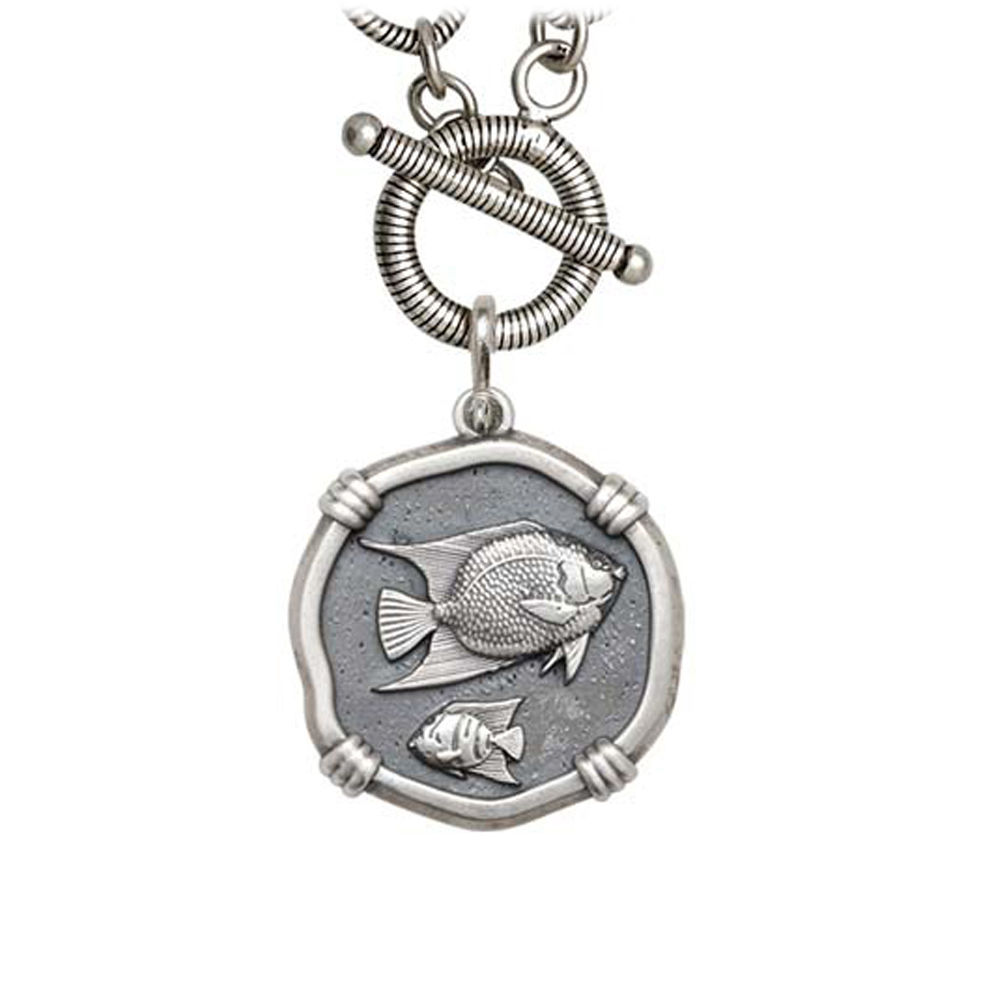 Guy Harvey Angelfish on Link Toggle Necklace Relic Finish 25mm Sterling Silver