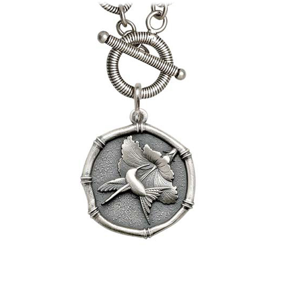 Guy Harvey Hummingbird Sterling Silver on Link Toggle Necklace Relic Finish 25mm Sterling Silver