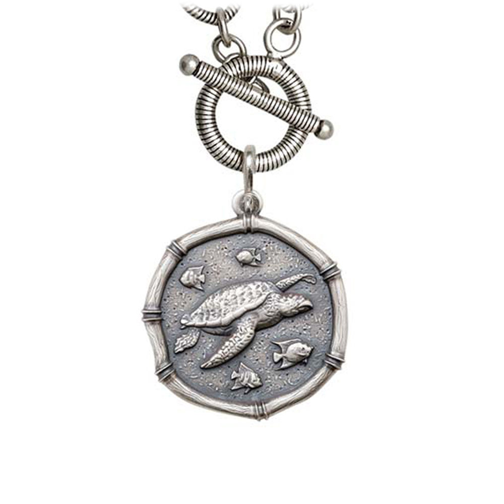 Guy Harvey Sea Turtle on Link Toggle Necklace Relic Finish 25mm Sterling Silver