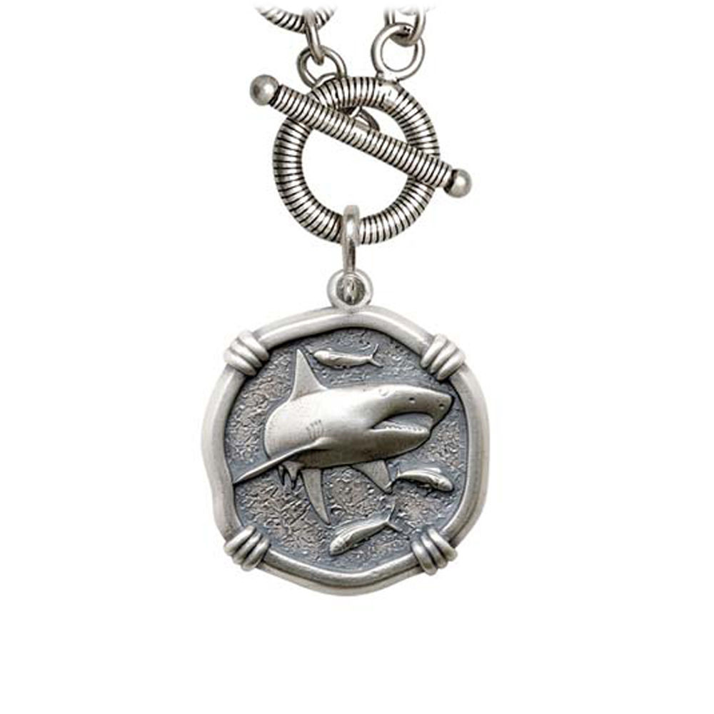 Guy Harvey Shark on Link Toggle Necklace Relic Finish 25mm Sterling Silver