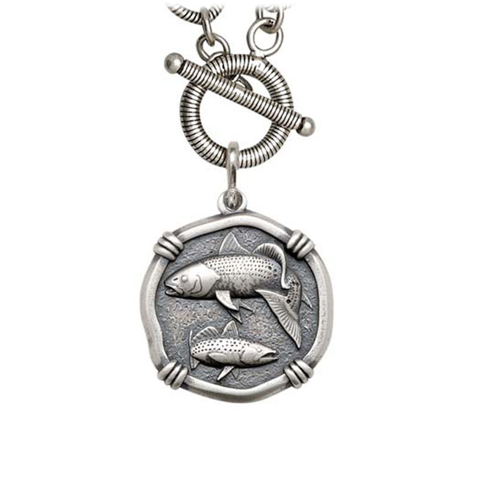 Guy Harvey Redfish & Trout on Link Toggle Necklace Relic Finish 25mm Sterling Silver