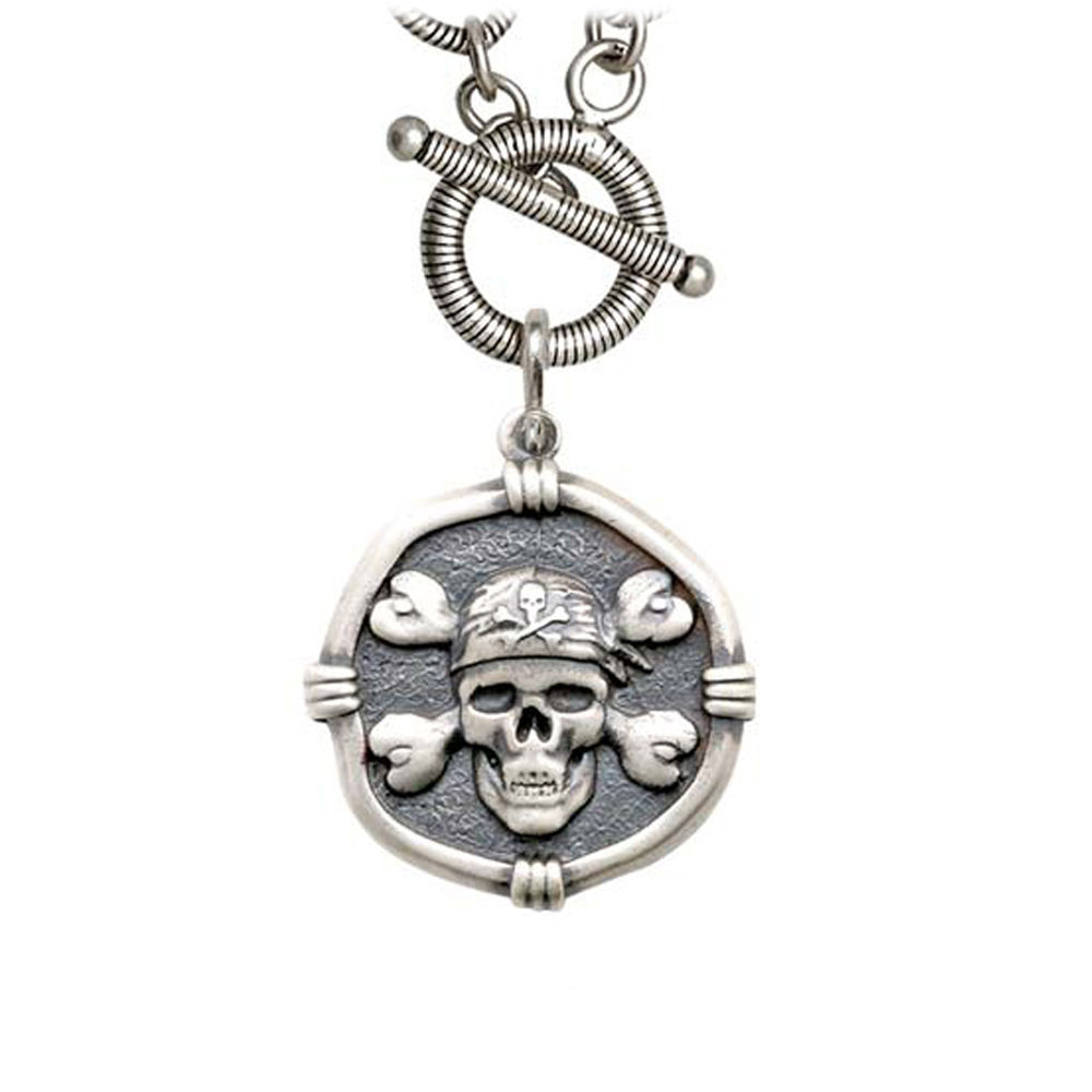 Guy Harvey Pirate on Link Toggle Necklace Relic Finish 25mm Sterling Silver