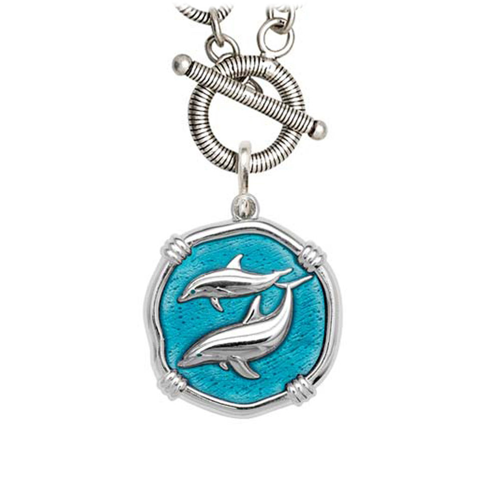 Guy Harvey Porpoise on Link Toggle Necklace Cayman Green Enamel Bright Finish 25mm Sterling Silver