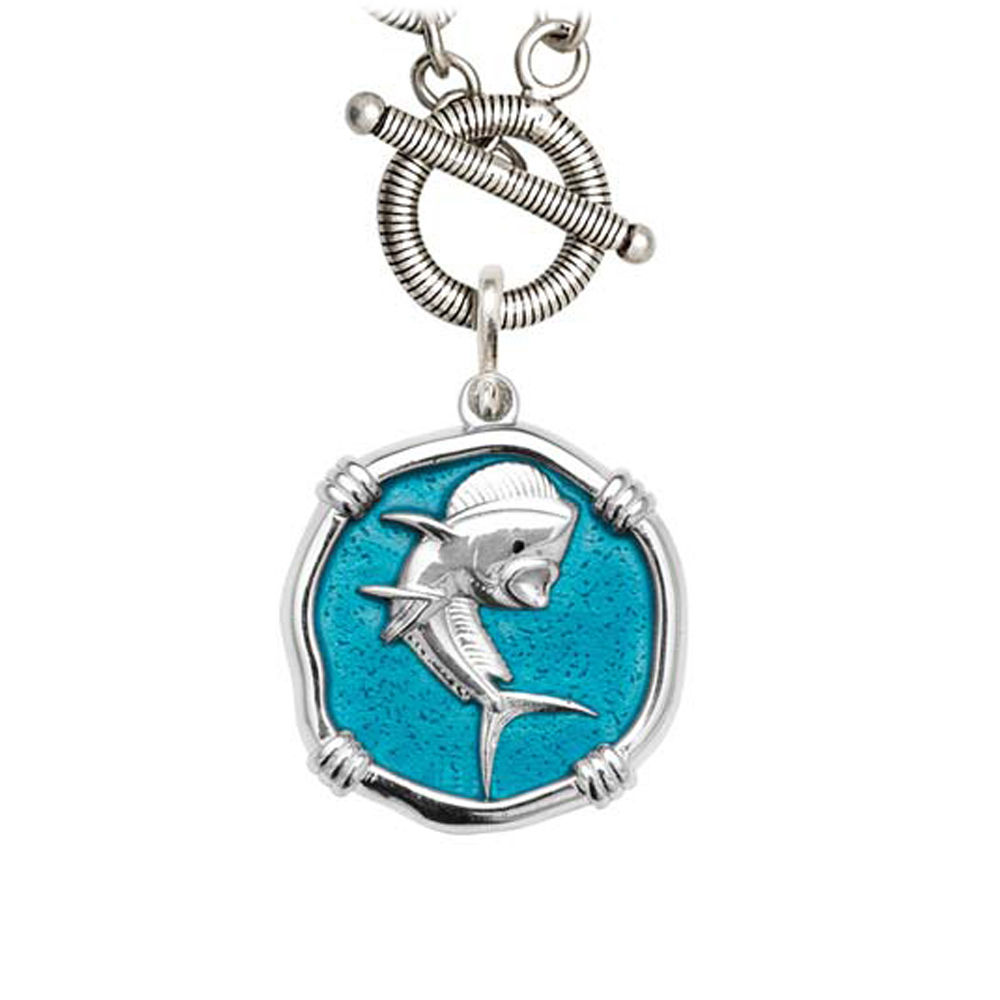 Guy Harvey Dolphin on Link Toggle Necklace Cayman Green Enamel Bright Finish 25mm Sterling Silver