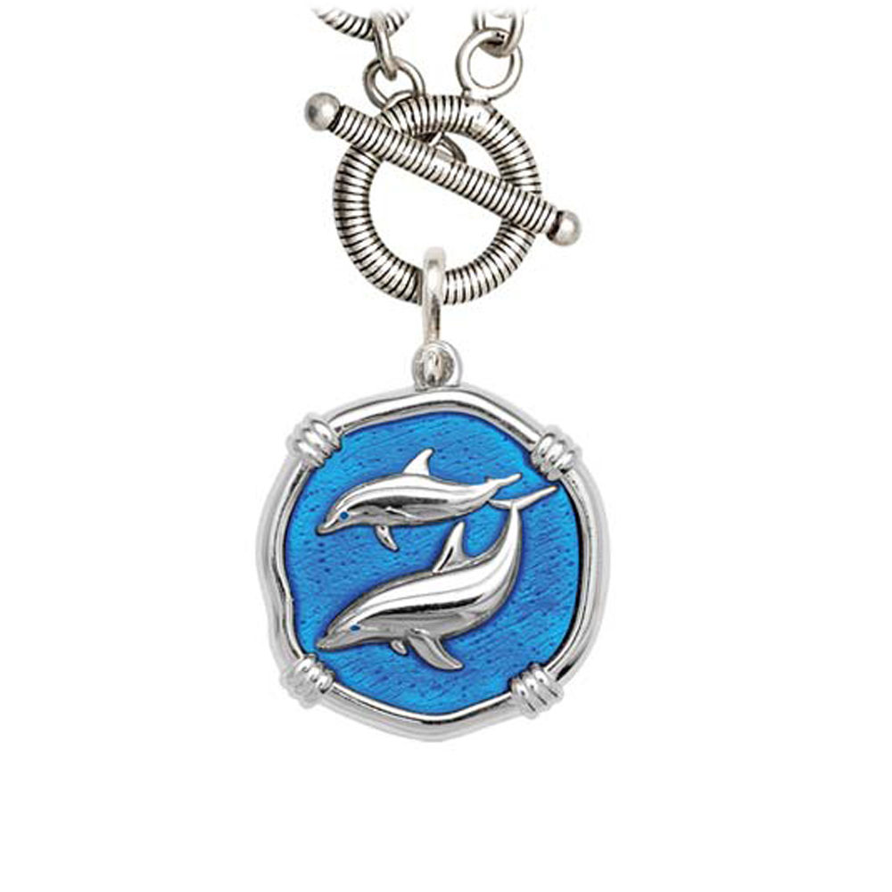 Guy Harvey Porpoise on Link Toggle Necklace Caribbean Blue Enamel Bright Finish 25mm Sterling Silver