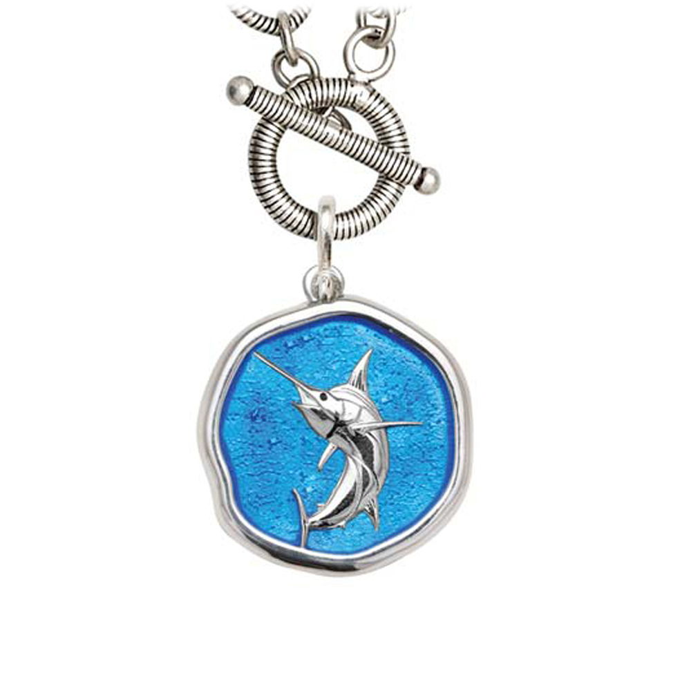 Guy Harvey Marlin on Link Toggle Necklace Caribbean Blue Enamel Bright Finish 25mm Sterling Silver