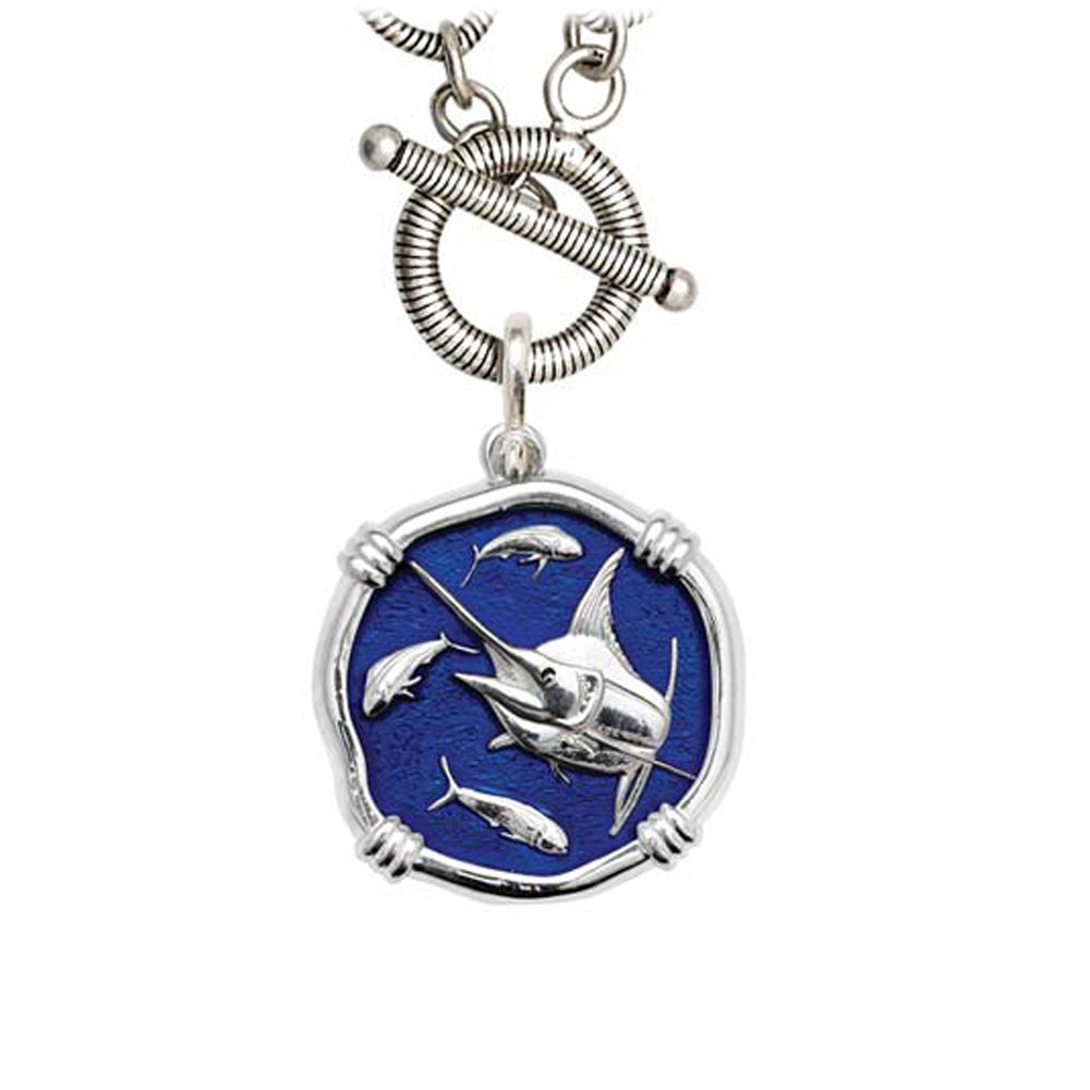 Guy Harvey Marlin on Link Toggle Necklace Gulf Stream Blue Enamel Bright Finish 25mm Sterling Silver