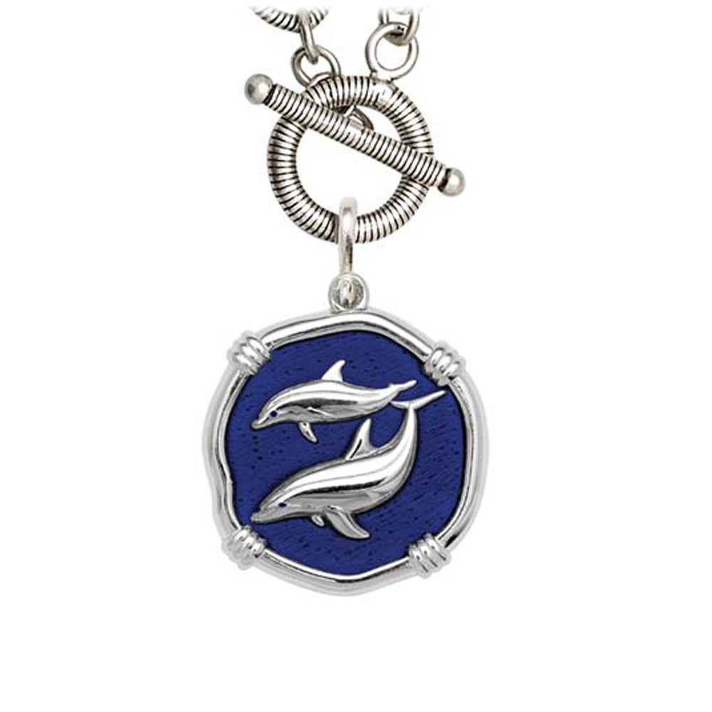 Guy Harvey Porpoises on Link Toggle Necklace Gulf Stream Blue Enamel 25mm Sterling Silver