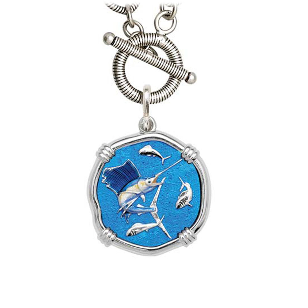 Guy Harvey Sailfish on Link Toggle Necklace Full Color Enamel Bright Finish 25mm Sterling Silver