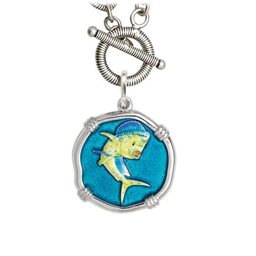 Guy Harvey Dolphin on Link Toggle Necklace Full Color Enamel Bright Finish 25mm Sterling Silver